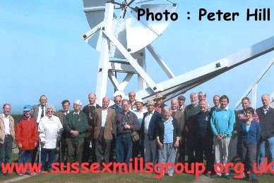 Sussex Mills Group Members at Jill Windmill at the start of our 2007 Mills Tour - Photo : Peter Hill