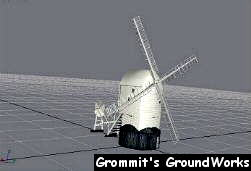 Polygon model of Jill Windmill - Image by A. J. Pick (Grommit's GroundWorks)
